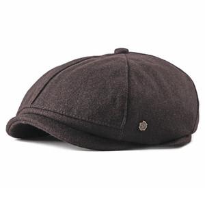 Fibonacci 2020 New Solid Newsboy Cap for Men Women Herringbone 8 Panel Apple Caps Cabbies Hat Woolen Headpiece Beret Hats T200911