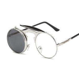 Flip Up Steampunk Sunglasses Men Round Vintage Mens Sunglass Fashion Glasses hot sale hip hop sunglass