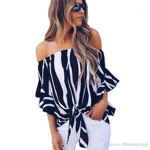 Sexy Fashion Petal Sleeve Casual Clothing Short Tees Middle Sleeve Apparel Womens Summer Slash Neck Chiffon Shirt