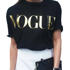 Fashion t shirts for women t-shirt gold VOGUE letter women Short Sleeve Crew Neck graphic tees Casual Womens tops 2017 New NV08 RF