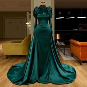 Hunter Verde musulmani vestiti da sera delle 2021 di lusso di cristallo Perle a collo alto con maniche lunghe Mermaid rilievo arabo promenade Vestiti