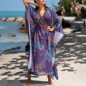 Women V Neck Maxi Dress Print Long Robe Beach Wrap Summer Purple Belt