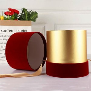 Florist Hat Boxes Red Velvet Cloth Round Box Candy Boxes Gift Box Packaging for Gifts Christmas Flowers Gifts Living Vase
