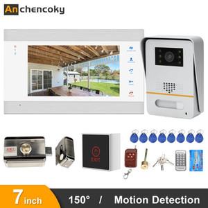 Anchencoky vidéo Sonnette avec verrouillage 7 pouces Intercom vidéo 150 ° IR Porte Téléphone avec détecteur de mouvement pour Home Access Control Kit
