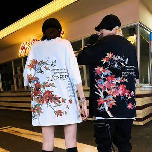 Men's short sleeve 2020 spring summer INS fashion brand hip hop loose maple leaf printed T-shirt couple 3IXL