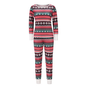 Christmas Sleepwear Lingerie 2 Piece Set Autumn Winter Home Clothes Long Sleeve Thermal Underwear Long Johns Pajamas for Women 2020