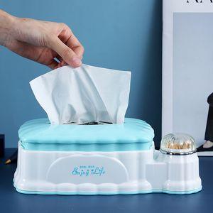 Выдвижной Tissue Box Пластиковые Многофункциональный Tissue Box с зубочисткой Ватного держателя для хранения Гостиной Организатор
