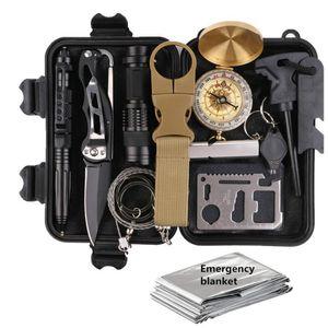 13-in-1 Gear kit di emergenza SOS Sopravvivere attrezzo di campeggio esterno Accessori da esterno campeggio di corsa esterna di primo soccorso Kit di Sopravvivenza