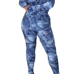 DPSDE 2020 new fashion sexy street style sets long sleeve laepl deep v jumpsuit buttons long pants denim two piece sets