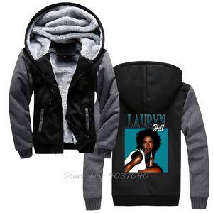 Lauryn Hill FUGEES 1990 RB Pulls d'homme d'hiver épais de chaud Zipper Sweat Sportwear Streetwear