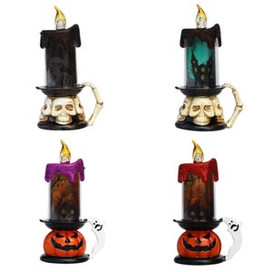 Cadılar Bayramı Mumlar Kafatası Kabak Cadılar Bayramı Partisi Atmosfer Dekorasyon Parlayan Lambası Plastik Pil Alevsiz Mumlar GWB2005 İşletilen