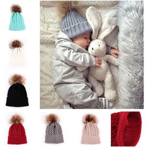 Çocuklar Knited Şapka Kış Pom Poms kasketleri Bebek Bebek Kafatası Caps Crochet Hat Fedora Dış Mekan Popüler Cap Moda Örme Şapka Isınma 6 Renkler 2020