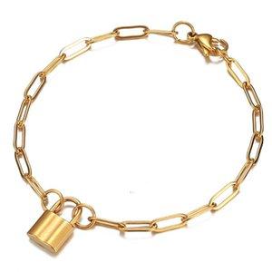 Chaîne en acier inoxydable Clé Charms Bracelet Padlock Femme Or Argent Couleur Bijoux Bracelet Padlock