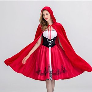 2020 New Little Red Riding Hood Costume Castle Queen Costume Medieval Halloween Cosplay Uniform Adult Cosplay Costume Wholesale size S-XL
