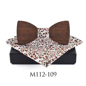 Sitonjwly Handmade arco de madeira Tie Caixa Handkerchief Set para Bowtie madeira oca de Homens Esculpido gravata personalizada Mulheres Cravat Scarf Bow Tie