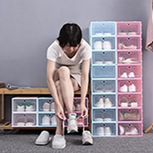 Espesar zapatos de plástico transparente caja de zapatos a prueba de polvo Caja de almacenamiento tirón zapato transparente del color del caramelo cajas apilables zapatos Organizador Caja EEA2004-1