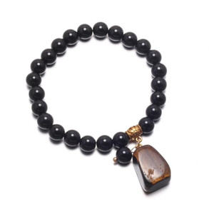 2020 New Natural Stone Beads Bracelets Semi-tone Pendant Jewelry For Women Obsidian Bracelets Birthday Gift 18.5cm