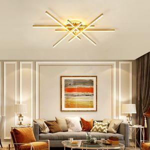 Nordic Golden Line Chandelier Living room Dining room Modern Household Light Luxury Bedroom LED Ceiling Lighting