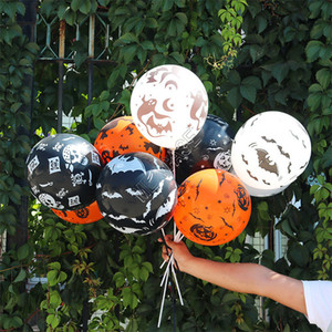 12Inch Hallowmas Day Balloon Decorative Balloons Festival Party Supplies Skull Pumkin Ghost Spider Cartoon Balloons Latex Airballoon D9713
