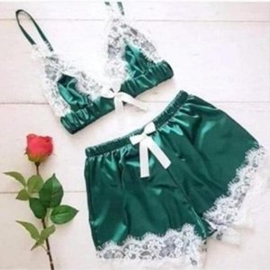 Sexy Erotic Lingerie Pyjamas Lace Pajamas Sets Women Sleepwear Sexy Lingerie Lace Patchwork Cami And Shorts Two Pieces Summer