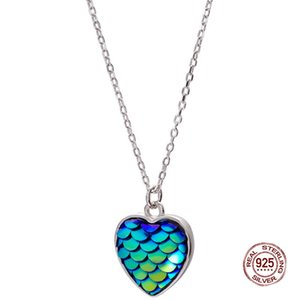 Mermaid Scales Necklace 925 Sterling Silver Heart Shape Jewelry for Girlfriend Gift Blue Ocean Theme