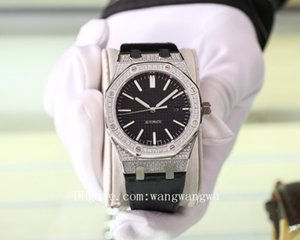 2020 high quality royal oak offshore men full diamond watches AP leather wristwatches rubber strap rubber mens watch D1102