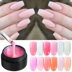 Prego 1Bottle 15ml Poly Extensão rápida Gel Rosa Branco Limpar Nude Mergulhe off UV LED Builder Estender gel dicas de construção Nails Arts