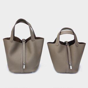 2020brand mode design de luxe sac femme sac coloré panier Femme verrouillage Picotin tête couche de peau de vache Bucket Paquet main Carry Sac à main Tide