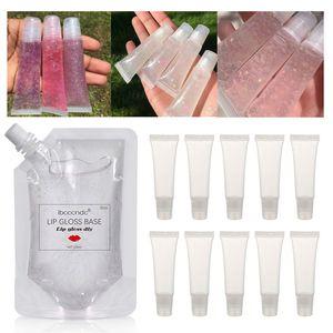 Transparent 100ml Lip Gloss Basisöl DIY Lip Gloss Rohstoff Gel Feuchtigkeitsspendende Versagel mit Tubes Container 10g