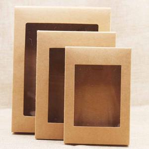 Caja de papel DIY 20pcs con la ventana blanco / negro / kraft de papel caja de regalo de la torta de embalaje de la boda del partido Inicio mollete Embalaje