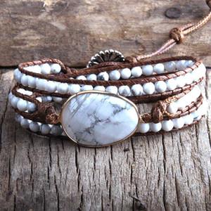 MD Moda frisada Boho pulseira artesanal jóias Pedras Naturais Charme 3 Vertentes Enrole Pulseiras Drop Shipping