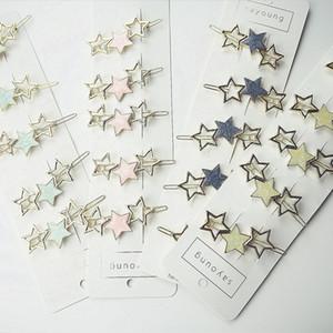UXlvE шикарный стиль геометрические звезды и звезды круглой полым из металла шпильки сладкой стороны стиля клип шпильки головной убор аксессуары для волос Мори