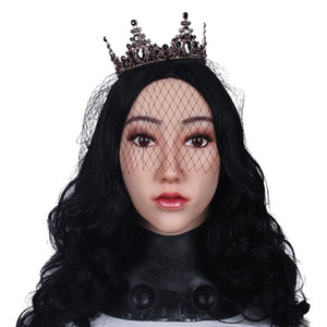 Top Grade Crossdressing Costume Mask Mask Cosplay Halloween Soft Crossdresser Cosplay per maschere Transvestite Puntelli Silicone Femmina a F Haur