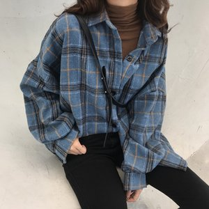 Korean Style Oversized Plaid Shirts Blouse Women Autumn Cotton Blouse Long Sleeve Plus Size Blouses Button Up Shirt Blusas 200924