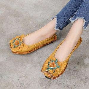 GKTINOO couro macio genuíno Flat Shoes Mulheres apartamentos com flores calçados femininos Mulheres Designers Loafers Slip On 200924