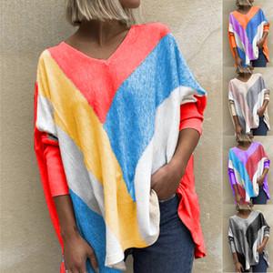 Womens Camiseta Outono Nova Womens V-neck Botão Tie Stripe Impressão Dye manga comprida T-shirt Top Mulheres Lazer soltas Fit