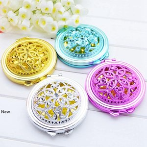 Vintage Hand Mirrors Pocket Mirror Mini Compact Mirrors Girl Double-Side Folded Hollow Out Makeup Mirror Radom Colors RRA2429