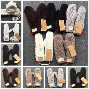 Австралия Дизайн Вязаные варежки U Winter руно G Twist Перчатки с талреп Теплый Knit Полуперчатки Женщины Full Finger варежки езда перчатки 5 цветов