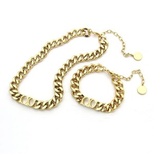 Fashion stainless steel letter 14k gold cuban link chain necklace bracelet for mens and women Party lovers gift hip hop jewelry With BOX