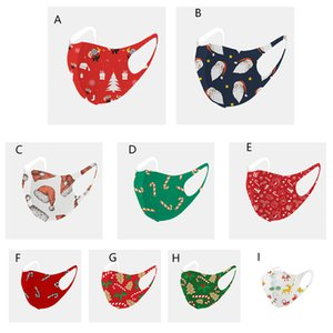 2020 New Christmas Face Mask Fashion Santa Claus Printing Ice Silk Cotton Protective Masks Dustproof Washable Reusable Xmas Year Mouth Masks