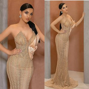 Chic Champagne Mermaid Prom Dresses Sexy Sweeteart Appliqued Lace Bling Sequins Evening Dress Sweep Train Special Formal Party Dresses