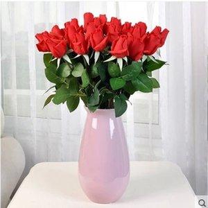 10 Real Touch Flowers Roses Artificial Floral Arrangement for Bridal Bouquet Wedding Ceremoney Decorations Centerpieces
