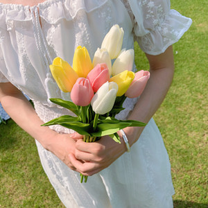 PU feel tulip simulation bouquet fake artificial flower home table decoration flowers shoot props