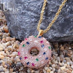 UWIN Donut Pendant Dolce rosa arcobaleno colorato Cz completa fuori ghiacciato Cubic Zirconia Hiphop per regalo