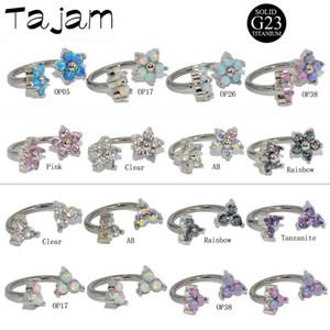1pair G23 Titanium Opal Zircon Fleur à filetage interne CBR Horseshoe Oreille Tragus Cartilage Helix BCR Boucles d'oreilles Piercing Bijoux