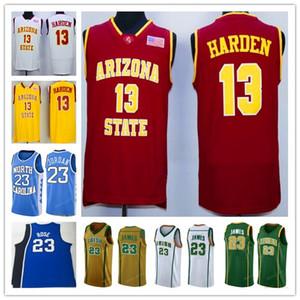 NCAA Леброн Джеймс 23 13 Харден Джерси Деррик 23 Rose College 23 МДж прошитой Вышивка баскетбольное Белый Оптовая Размер S-XXL