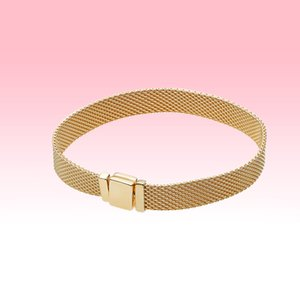 Mens Yellow gold plated Watch Strap style Bracelets Summer Jewelry for Pandora 925 Silver Mesh Bracelet with Original box for Women