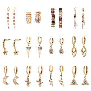 العصرية الذهب Huggie أقراط هوب للمجوهرات النساء زركون CZ قوس قزح طويل استرخى الشرابة أقراط التصميم الهندسي