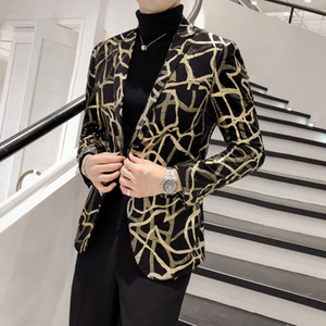 Brand New Men Floral Blazer Fête de mariage coloré Plaid Black Gold Paillettes Blazer design DJ Chanteur Veste de costume de mode Outfit