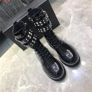2020 Hot Sale Womens Martin Boots Street Style Motorcycle Ankle Boots with Non-slip Rubber Sole Knight Boots Original packaging